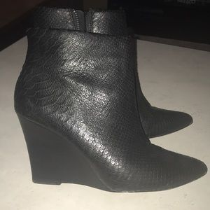 Joie leather snake skin booties